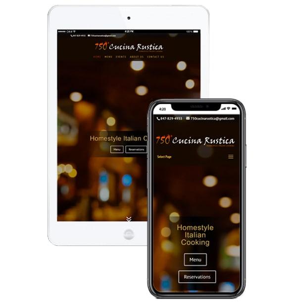 750 Cucina Rustica website mockup